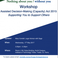Image for Sage Workshop: ADM (Capacity) Act 2015, 'Supporting You to Support Others' - Kerry