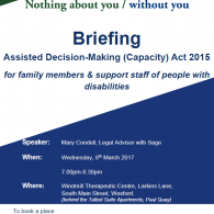 Image for Briefing for family members and support staff of people with disabilities